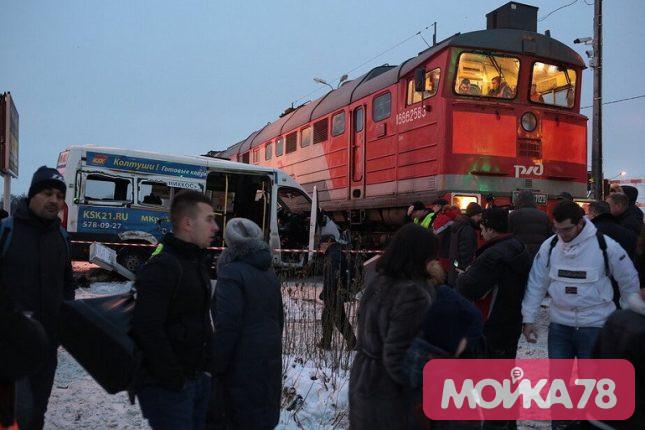 В Кудрово изменили движение автобусов из-за столкновения маршрутки с поездом