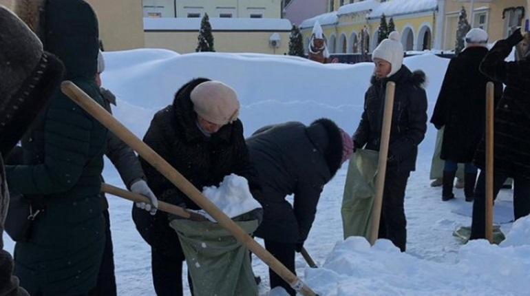 Госдуму заинтересовало фото с учителями, убирающими снег в мешки