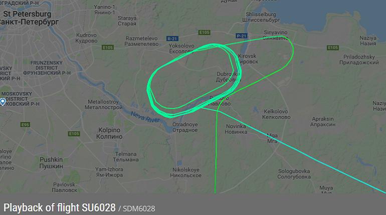 Маршрут полета рейса SU6028. Скриншот FlightRadar24