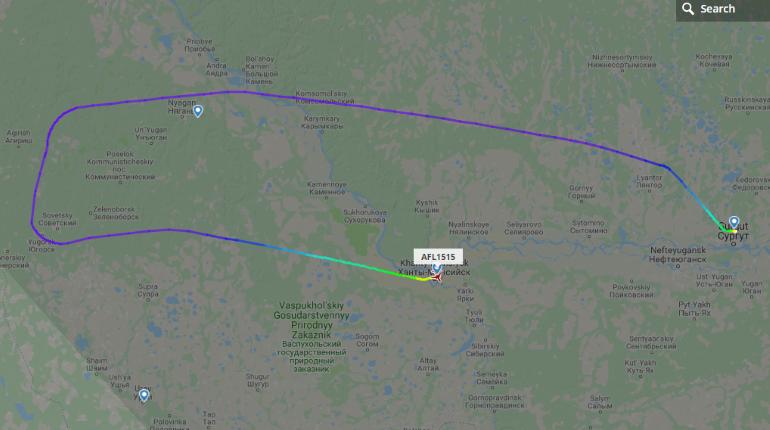 Самолет сел в Ханты-Мансийске. Скриншот FlightRadar