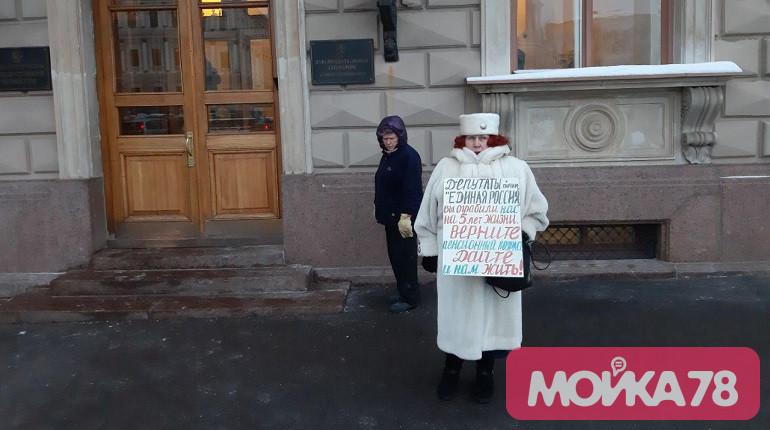 Будущих вице-губернаторов у ЗакСа встречает пикет против пенсионной реформы