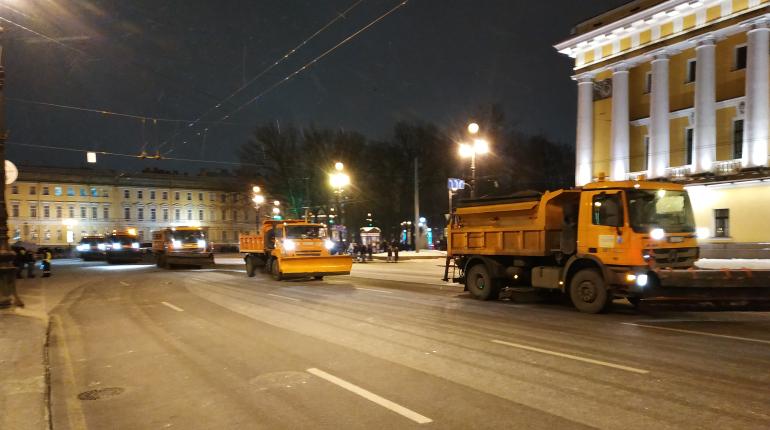 Обещанный синоптиками снегопад накрыл Петербург