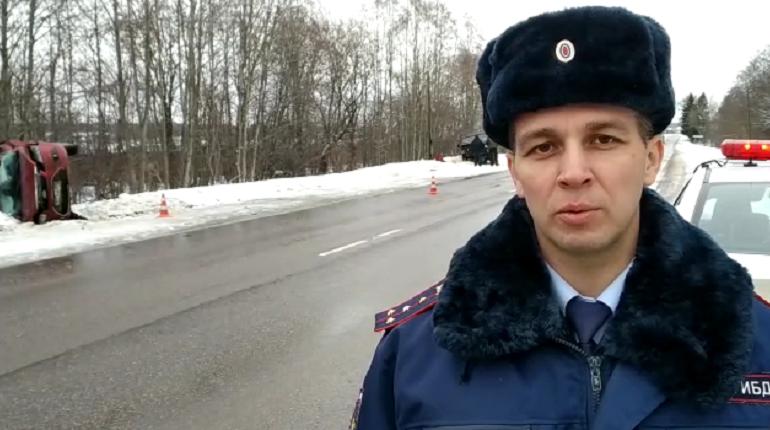 Авария в Волховском районе. Скриншот: ГИБДД