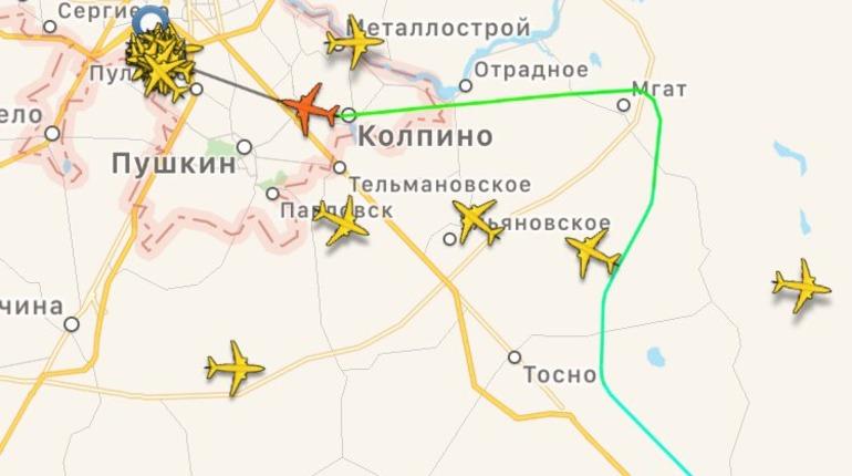 В Пулково вечером 20 февраля не могут сесть самолеты. Фото: flightradar24.com