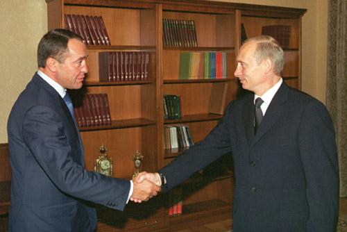 Михаил Лесин и Владимир Путин в Новоогарево
