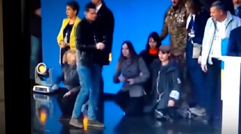 Депутат Верховной Рады бросилась на колени. Фото: скриншот