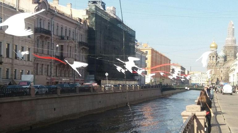 Журавли над каналом Грибоедова. Фото: Мойка78