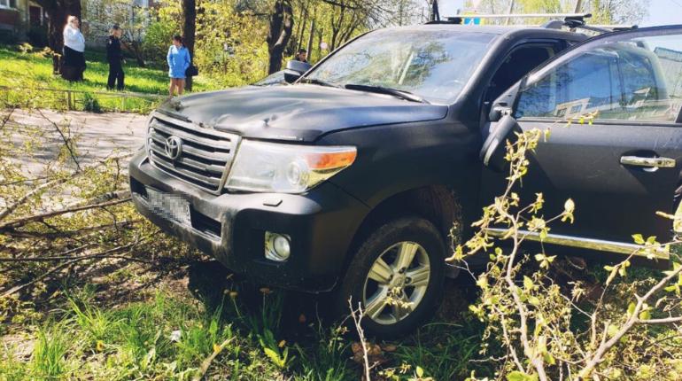 Под Гатчиной водитель внедорожника умер и врезался в дерево