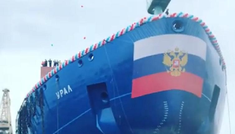 Спуск на воду атомного ледокола «Урал» в Петербурге показали на видео