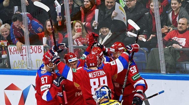 Сборная России после победы над  Швейцарией. Фото: vk.com/hockey_video_archive