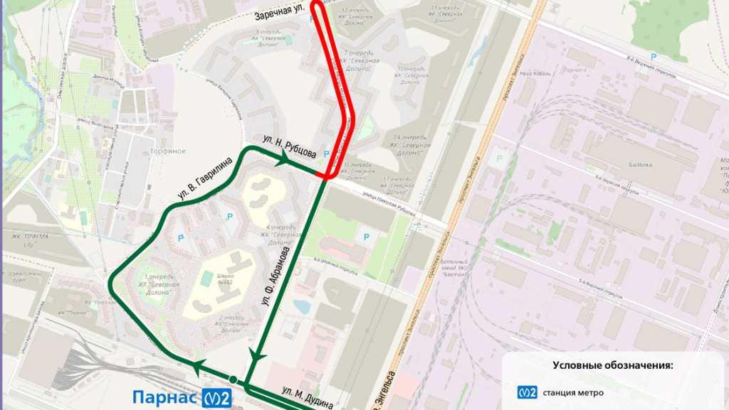 От станции «Парнас» с 1 июля запустят автобус до ЖК «Северная долина»