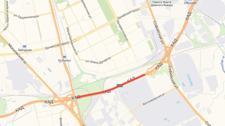 На КАД от Софийской до Московского шоссе закрыли две полосы