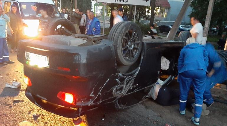 Иномарка с номером «666» перевернулась на Колтушском шоссе