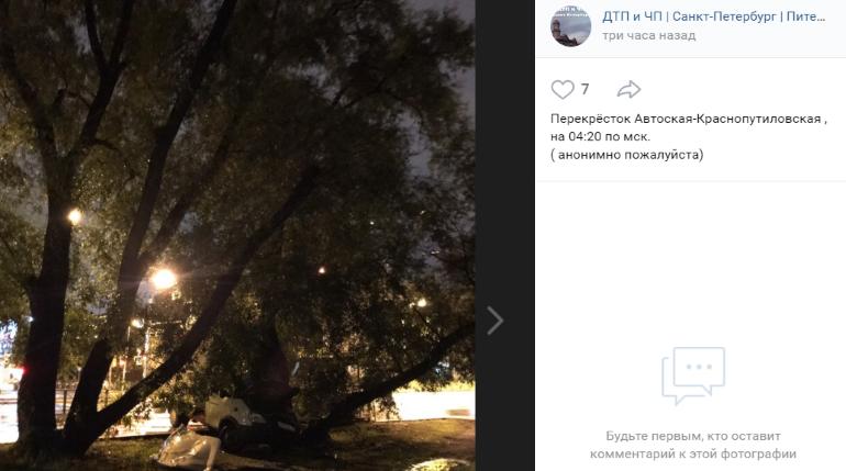 «ГАЗель» сбила знак и влетела в дерево на Автовской улице