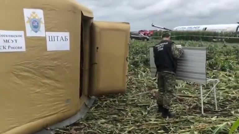СК показал видео с места аварийной посадки борта «Уральских авиалиний»