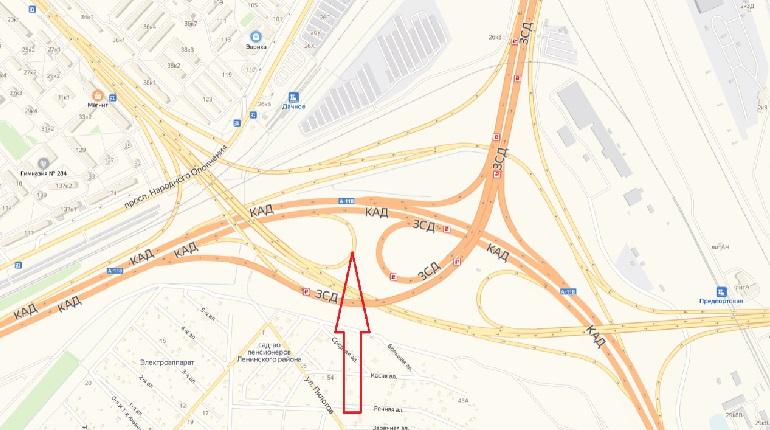 Съезд полностью перекроют на развязке КАД с Дачным проспектом