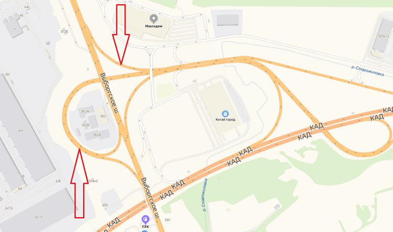 Два съезда перекроют на КАД у Выборгского шоссе