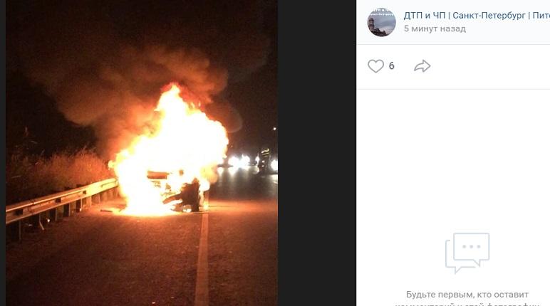 Автомобиль вспыхнул на Московском шоссе