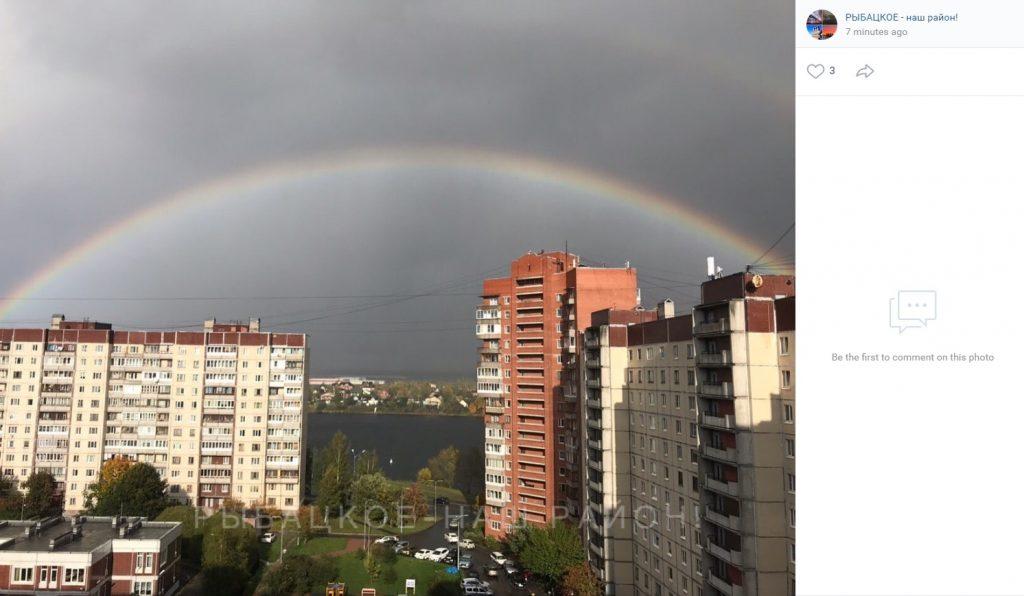 Штормовое небо над Петербургом украсила двойная радуга
