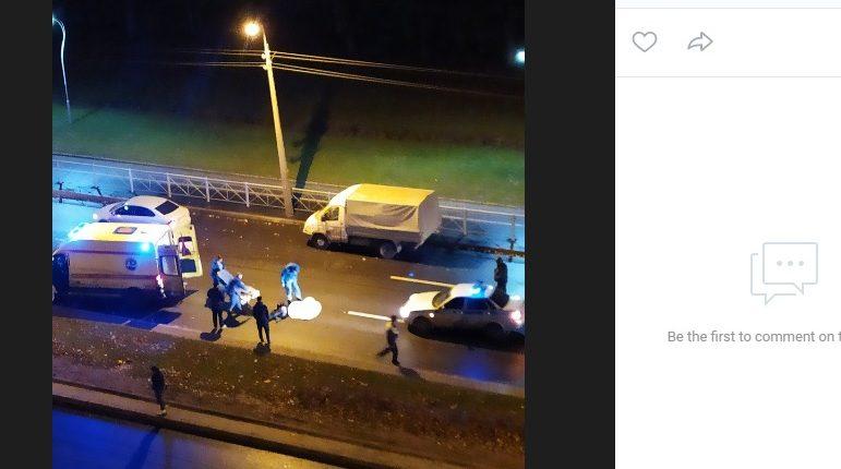 Перебегавшего проспект Луначарского увезли с места ДТП в крови