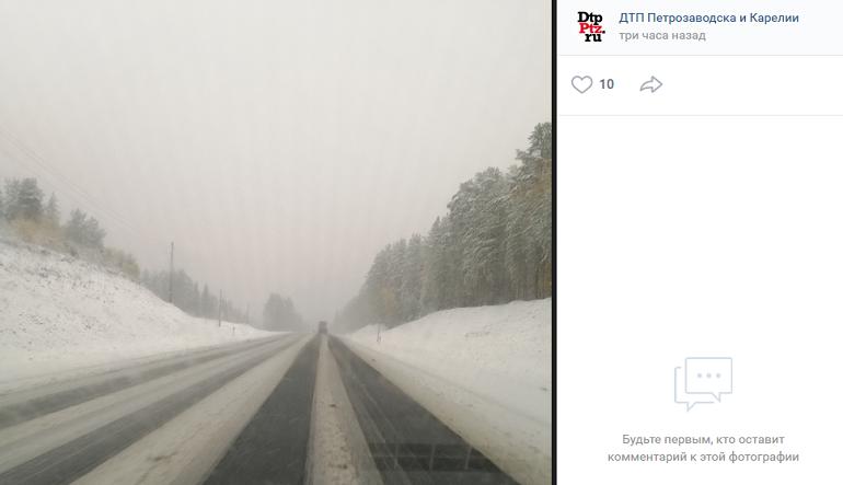 Как предсказывало МЧС: Карелия в сугробах, снежный фронт сносит к Петербургу