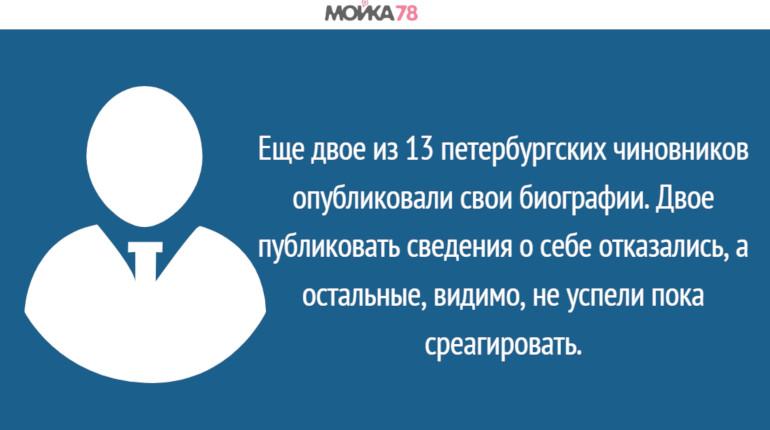 «Мойка78» приоткрыла завесу тайны над биографиями чиновников