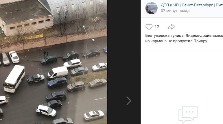 Каршеринг не пропустил авто на Бестужевской