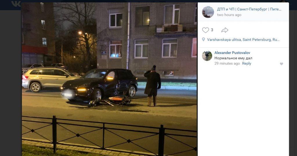 Porsche отправил байкера в реанимацию на Варшавской улице