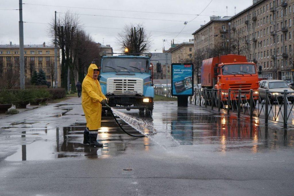 Петербургские дорожники рассказали, зачем моют улицы в дождь