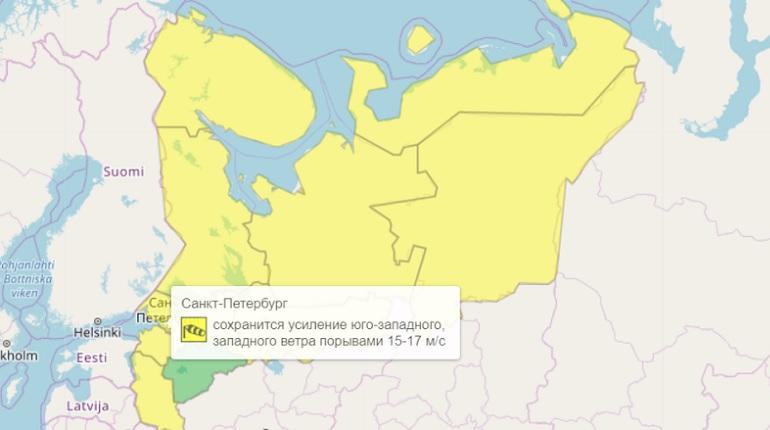 Штормовой ветер в Петербурге повысил уровень погодной опасности