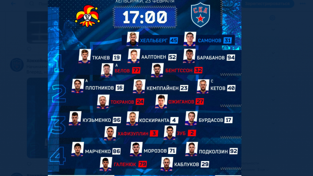 В Хельсинки начался матч между СКА и «Йокеритом»