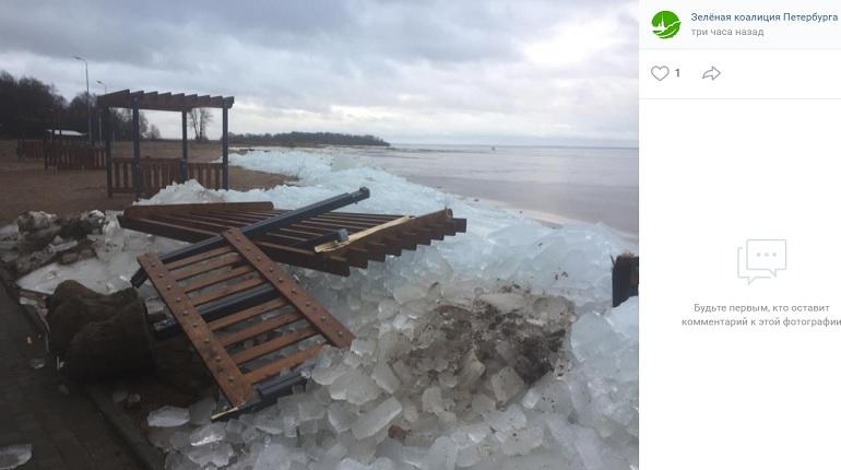 Шторм превратил в щепки благоустройство в «Морских дубках» за 55 млн рублей