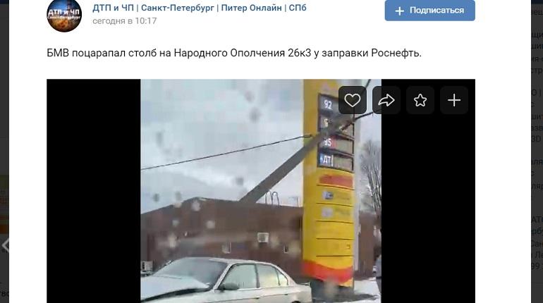 На Дачном проспектеBMW снес столб и положил его на провода — на месте ДПС