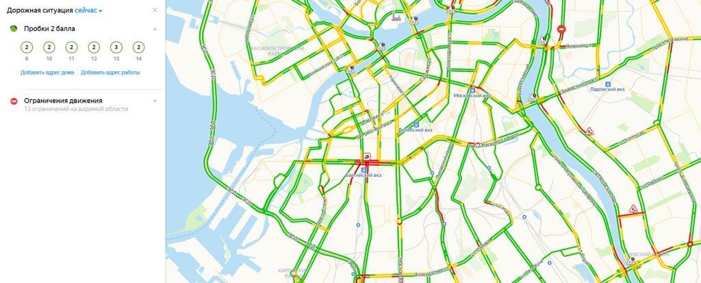 Выехали на работу: дорожная ситуация в Петербурге к утру 3 июня достигла 2 баллов
