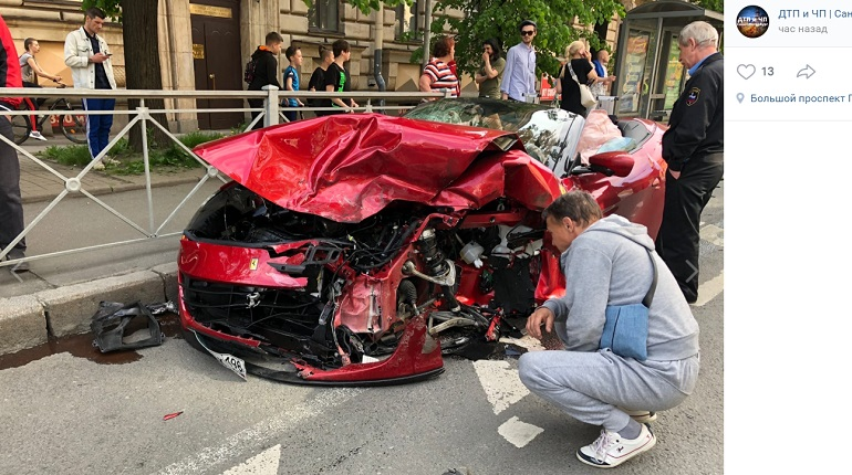 Смерть, разрыв печени, сотрясение мозга: резонансное ДТП с Ferrari в центре Петербурга