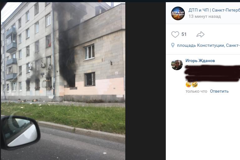Очевидцы: в здании на Краснопутиловской прогремел взрыв