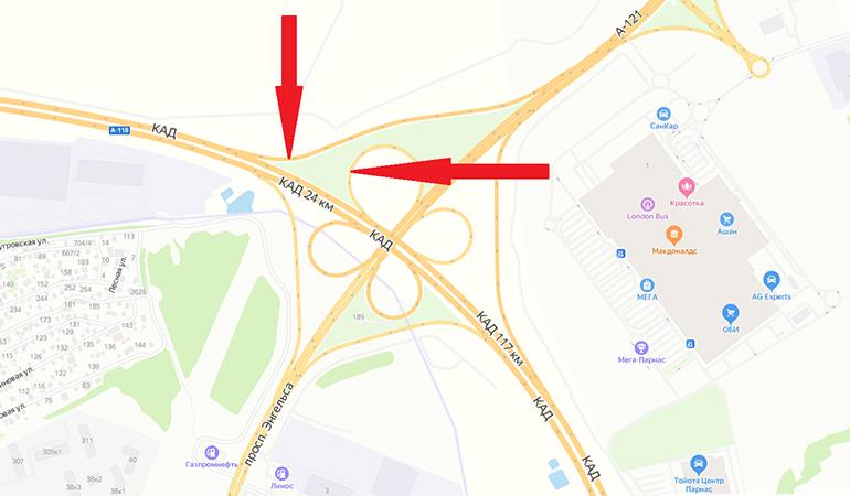 На развязке КАД с проспектом Энгельса из-за ремонта дороги полностью перекроют два съезда