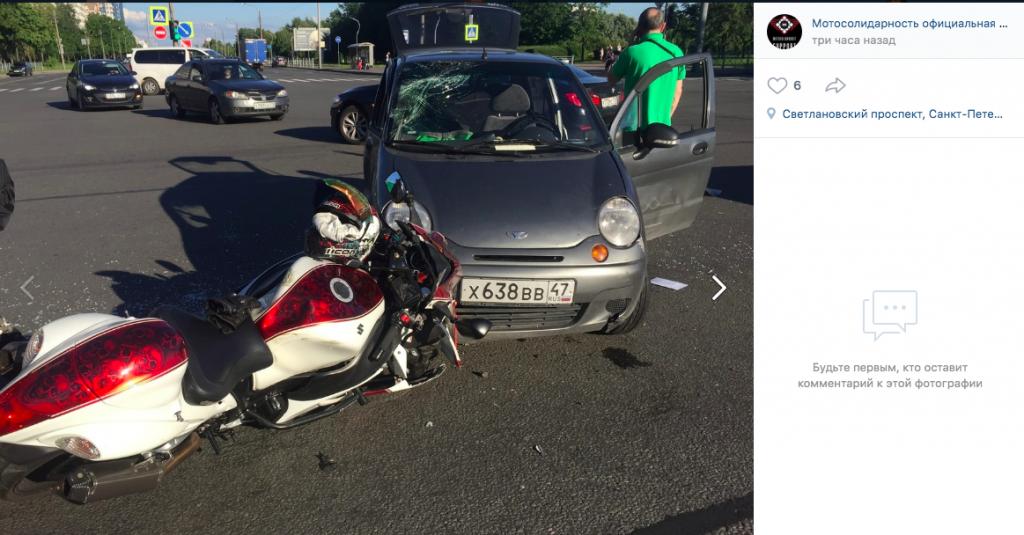 На Светлановском Daewoo Matiz сбил мотоциклиста