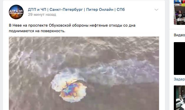 Росприроднадзор взял на контроль ситуацию с нефтяными пятнами на Неве
