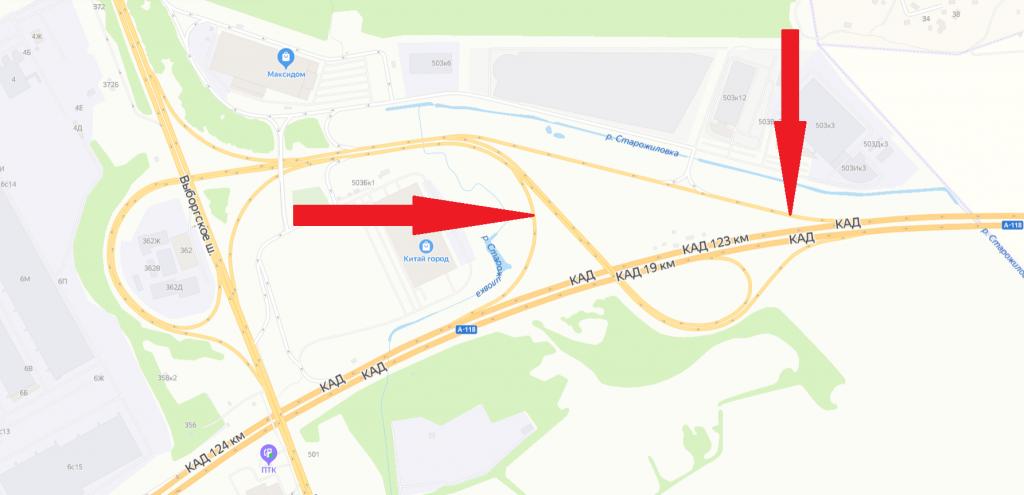 На развязке КАД с Выборгским шоссе перекроют два съезда: там ремонтируют дорогу