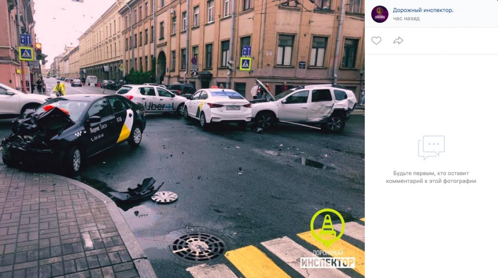 В Сети появилось видео жесткого ДТП на Гороховой: водитель такси был пьян