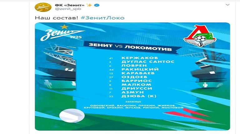Кто из «Зенита» начнёт матч с «Локомотивом» на поле, а кто на скамейке запасных