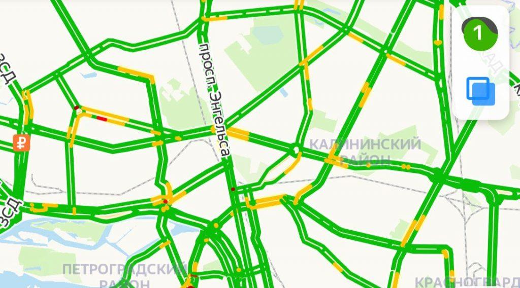 В субботу утром город спит: пробки в Петербурге оценили в 1 балл