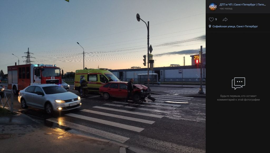 Chevrolet на Софийской пострадал от «сверхбыстрой «Девятки», затора нет