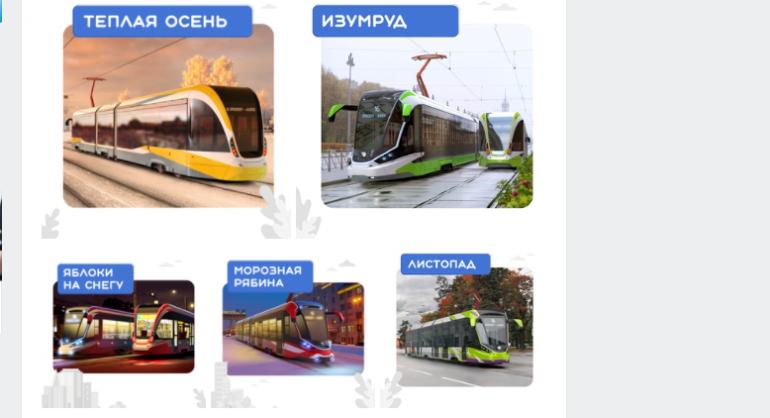 Петербуржцев попросили выбрать раскраску для нового трамвая