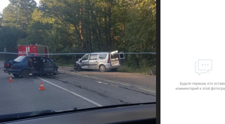 Женщина погибла после двойного ДТП под Петербургом