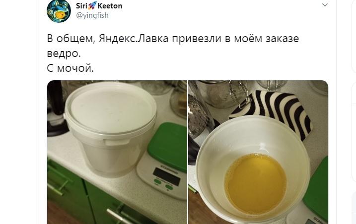 «Вы строго их не судите»: получившая ведро с мочой клиентка «Яндекс. Лавки» заступилась за сервис