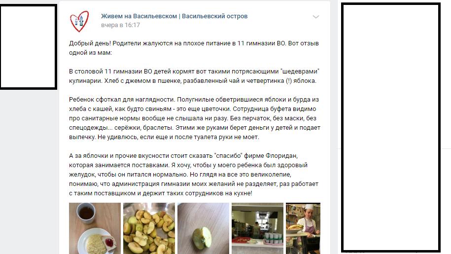 «Как будто свиньям»: родители пожаловались на плохое питание в гимназии Васильевского острова