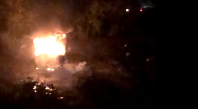 На Аэродромной за 10 минут сгорел грузовик