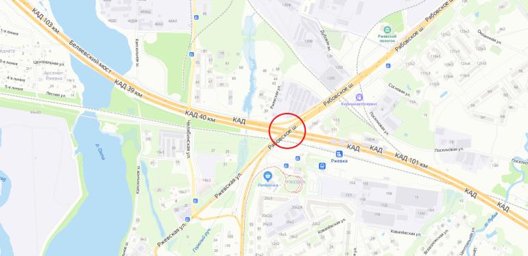 Две полосы перекроют на КАД у развязки с Рябовским шоссе